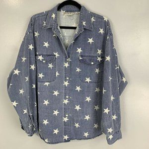 Vintage Star Print Chambray Button Down Shirt